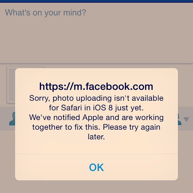 facebook mobile site and safari on ios8